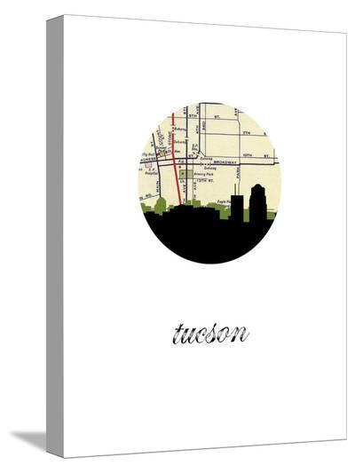 Tucson Map Skyline-Paperfinch 0-Stretched Canvas Print