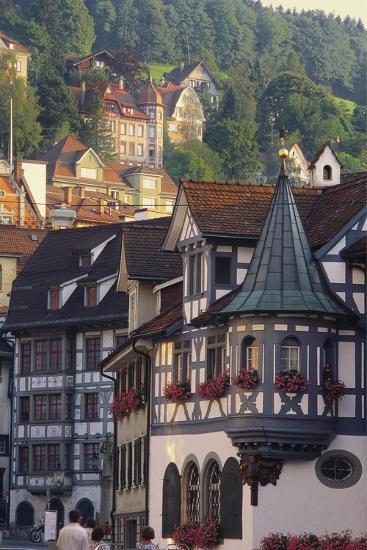 Tudor Exterior of Buildings in Town of St Gallen in Switzerland-John Miller-Photographic Print