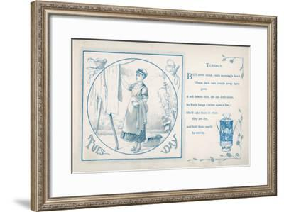 Tuesday: the Housemaid Hangs the Washing Out on the Line--Framed Giclee Print