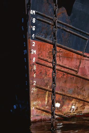 Tugboat Bow and Lowered Anchor Chain-Paul Souders-Photographic Print