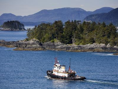 Tugboat in Sitka Sound, Baranof Island, Southeast Alaska, United States of America, North America-Richard Cummins-Photographic Print