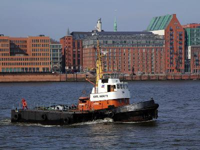 Tugboat on River Elbe, Hamburg Harbour, Germany, Europe-Hans Peter Merten-Photographic Print