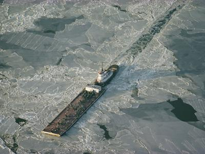 Tugboat Pushing Barge Through Winter Ice on the Chesapeake Bay-Skip Brown-Photographic Print