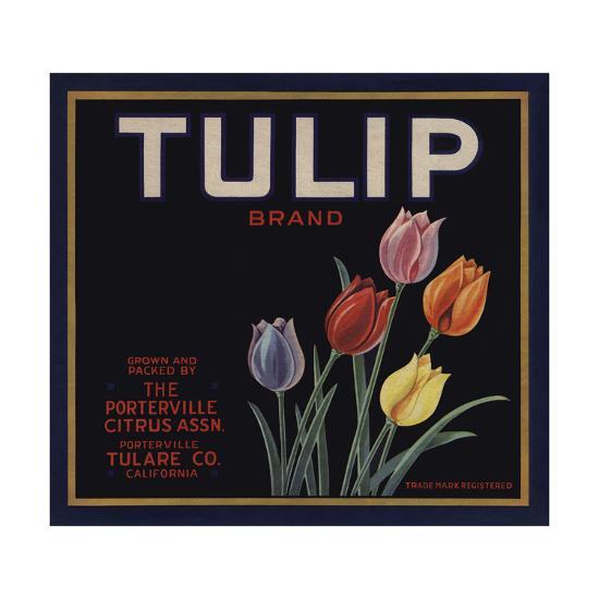 Tulip Brand - Porterville, California - Citrus Crate Label-Lantern Press-Art Print