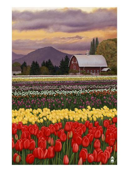 Tulip Farm-Lantern Press-Art Print