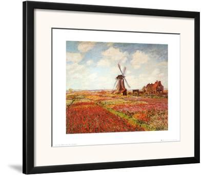 Tulip Fields with the Rijnsburg Windmill-Claude Monet-Framed Art Print