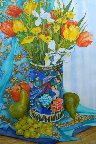 Tulips and Iris in a Japanese Vase, with Fruit and Textiles-Joan Thewsey-Giclee Print