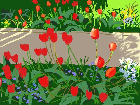 Tulips and Ladybirds, 2017-Andrew Macara-Giclee Print