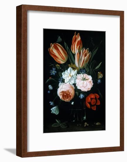 Tulips and Roses in a Glass Vase-Jan van Kessel-Framed Giclee Print
