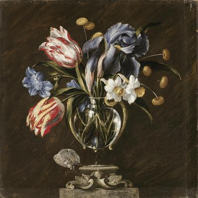 Tulips, Daffodils, Irises and Other Flowers in a Glass Vase on a Sculpted Stand, with a Butterfly-Juan de Arellano-Giclee Print