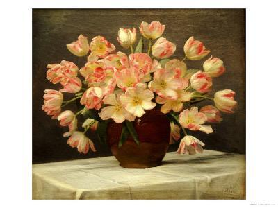 Tulips in a Vase on a Draped Table-Peter Johan Schou-Giclee Print