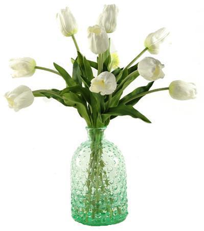 Tulips in Knobbed Glass Vase