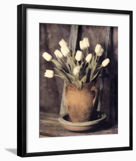 Tulips on Bench-Laurie Eastwood-Framed Art Print