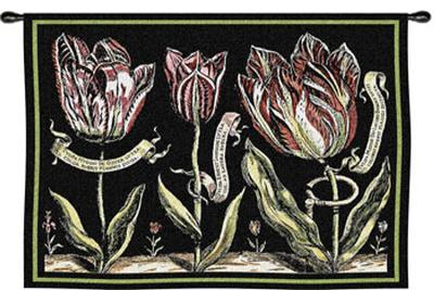 Tulips on Black II--Wall Tapestry