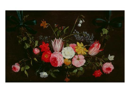 Tulips, Peonies and Butterflies-Jan Van, The Elder Kessel-Giclee Print