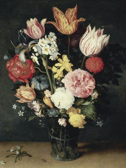 Tulips, Roses and Other Flowers in a Glass-Balthasar van der Ast-Giclee Print