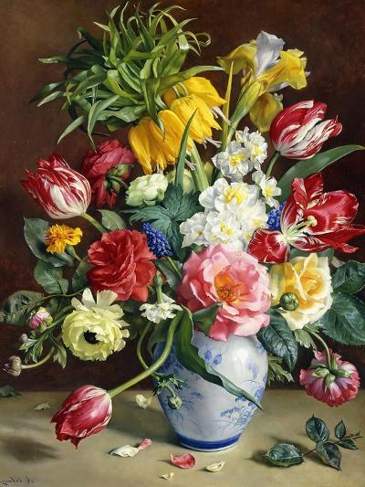 Tulips, Roses, Narcissi and Other Flowers in a Blue and White Vase-R. Klausner-Giclee Print