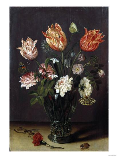 Tulips with Other Flowers in a Glass on a Table-George Wesley Bellows-Giclee Print