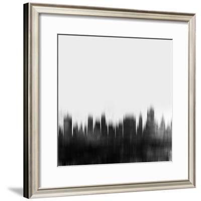 Tulsa City Skyline - Black-NaxArt-Framed Art Print