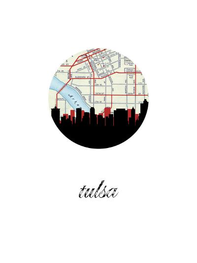 Tulsa Map Skyline--Art Print