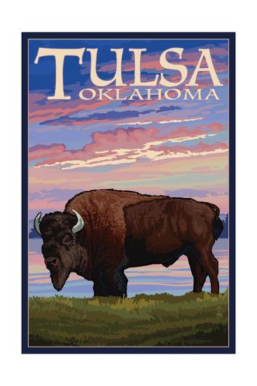 Tulsa, Oklahoma - Buffalo and Sunset-Lantern Press-Art Print
