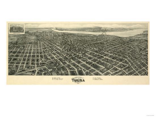 Tulsa, Oklahoma - Panoramic Map-Lantern Press-Art Print