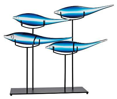 """Tultui Ice Blue Glass and Metal Table Art - 16""""--Home Accessories"""