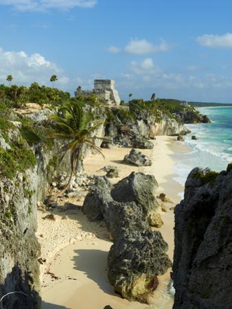 Tulum Beach and El Castillo Temple at Ancient Mayan Site of Tulum, Tulum, Quintana Roo, Mexico