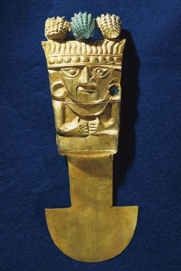 Tumi' or a Sacrificial Ceremonial Knife in Gold Portraying Naymlap, Peru, Chimu Civilization--Giclee Print