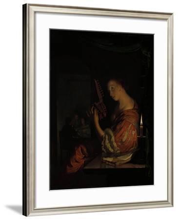 Tuning the Lute-Frans Van Mieris-Framed Art Print