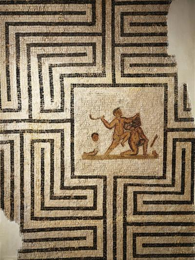 Tunisia, Thuburbo Majus, Mosaic Work Depicting Theseus Against the Minotaur in the Labyrinth--Giclee Print