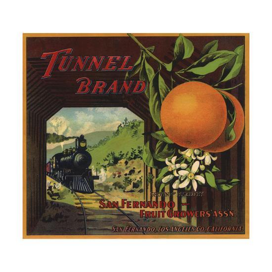 Tunnel Brand - San Fernando, California - Citrus Crate Label-Lantern Press-Art Print