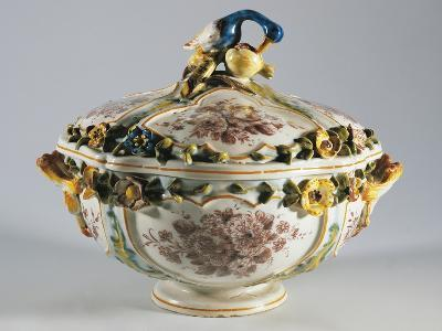 Tureen with Relief Decorations of Flowers and Bird--Giclee Print