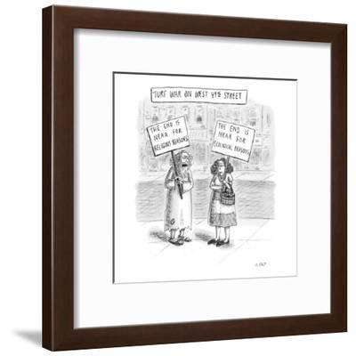 Turf War on West 49th Street - New Yorker Cartoon-Roz Chast-Framed Premium Giclee Print