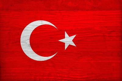 Turkey Flag Design with Wood Patterning - Flags of the World Series-Philippe Hugonnard-Art Print