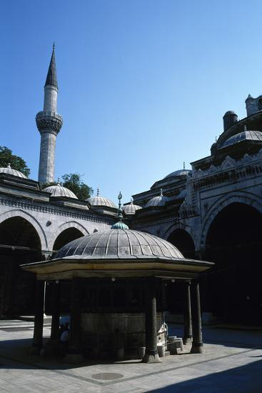 Turkey. Istanbul. Bayezid II Mosque. Ottoman Style. 16th Century. Courtyard and Ablution Fountain--Photographic Print