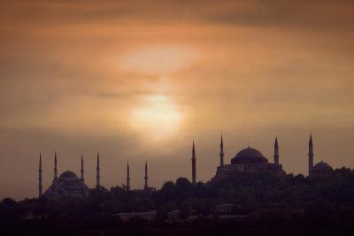 Turkey, Istanbul, Blue Mosque and Hagia Sophia, Sunset-Daryl Benson-Photographic Print