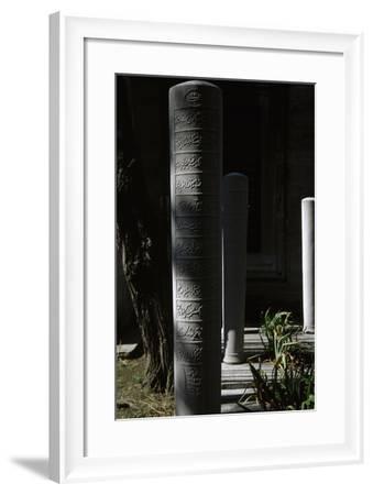 Turkey. Istanbul. Ottomans Stone Stelae. Inscriptions. Cemetery of Suleymaniye Mosque--Framed Photographic Print