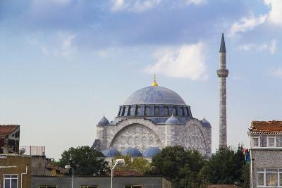 Turkey, Istanbul. the Mihrimah Sultan Mosque Near the Byzantine Land Walls of Istanbul, Turkey-Emily Wilson-Photographic Print