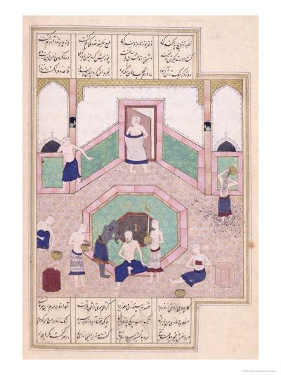 Turkish Bath, from Khusrau and Shirin by Elyas Nezami--Giclee Print