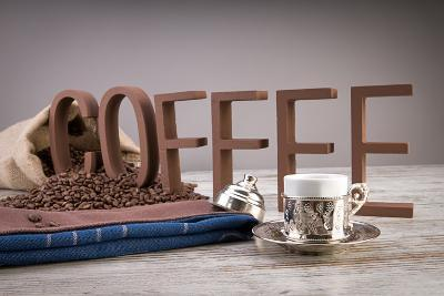 Turkish Coffee In Front Of Coffee Letters- Uwphotographer-Photographic Print
