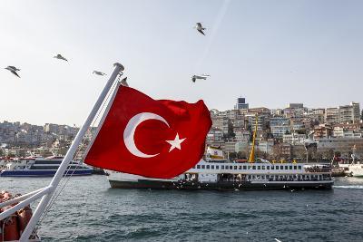 Turkish Flag, Passenger Ferry and Seagulls, Istanbul, Turkey-Ali Kabas-Photographic Print