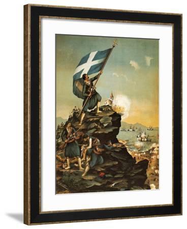Turkish Navy Attacking Greek Coast, 1897, Greek-Turkish War, Greece--Framed Giclee Print
