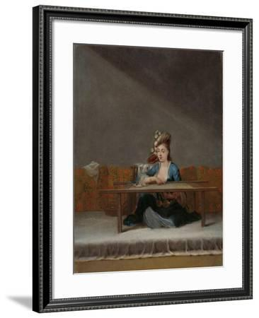 Turkish Woman at her Embroidery Frame, c.1720-37-Jean Baptiste Vanmour-Framed Giclee Print