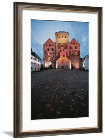 Turku Castle, Founded in 13th Century, Seen from the Courtyard at Nightfall, Finland--Framed Photographic Print