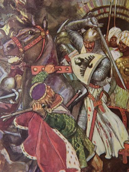 """""""Turn, False Hearted Templar!. Let Go Her Whom Thou Art Unworthy to Touch!."""", Illustration from…-Maurice Greiffenhagen-Giclee Print"""