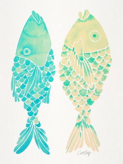 Turquoise Cream Indonesian Fish-Cat Coquillette-Giclee Print