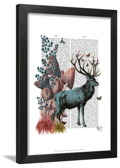 Turquoise Deer in Mushroom Forest-Fab Funky-Framed Art Print
