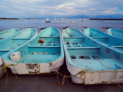 Turquoise Fishing Boats in Fishing Village, North of Puerto Vallarta, Colonial Heartland, Mexico-Tom Haseltine-Photographic Print