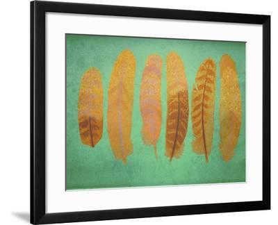 Turquoise & Gold Feather 1-Natasha Wescoat-Framed Giclee Print